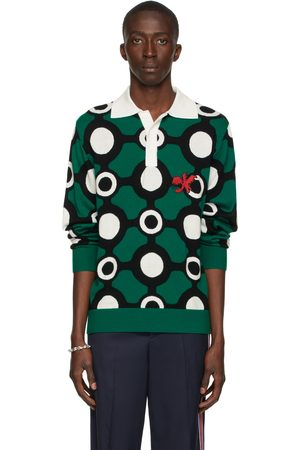 Charles Jeffrey Loverboy Green Colorblock Long Sleeve Polo