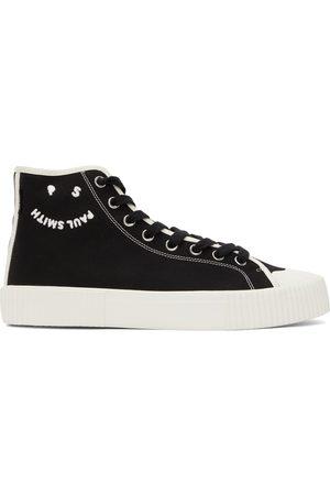 Paul Smith Black Canvas Happy Logo Kibby High Sneakers