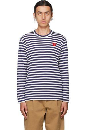 Comme des Garçons White & Navy Heart Patch Long Sleeve T-Shirt