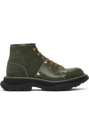 Alexander McQueen Green Leather & Suede Tread Lace-Up Boots