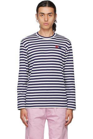 Comme des Garçons White & Navy Double Heart Long Sleeve T-Shirt