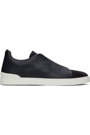 Ermenegildo Zegna Navy Suede & Calfskin Triple Stitch Sneakers