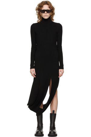 Bottega Veneta Black Rib Knit Slash Dress