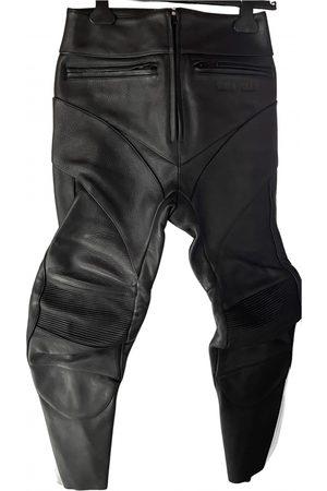 Vetements Women Leather Pants - Leather straight pants