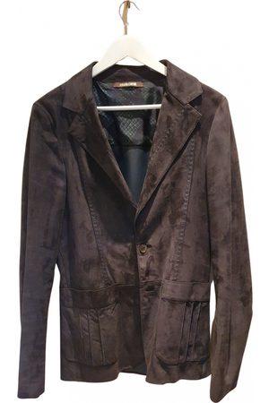 Roberto Cavalli Navy Leather Jackets