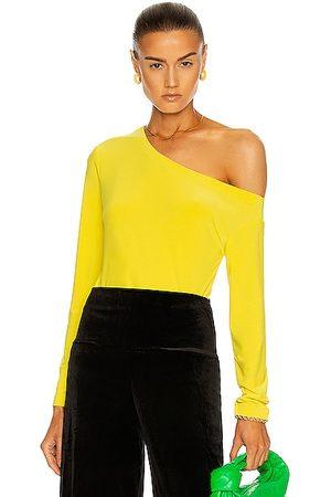 Norma Kamali Long Sleeve Drop Shoulder Top in Yellow