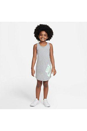 Nike Girls Knitted Dresses - Girls' Little Kids' Futura Tank Dress in Grey/Dark Grey Heather Size 4 100% Cotton/Knit