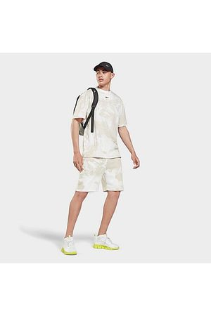 Reebok Men Sweaters - Men's MYT Allover Print Shorts in Beige/Stucco Size Small Cotton/Polyester/Fleece