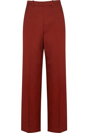 FORTE FORTE Terracotta straight-leg satin trousers