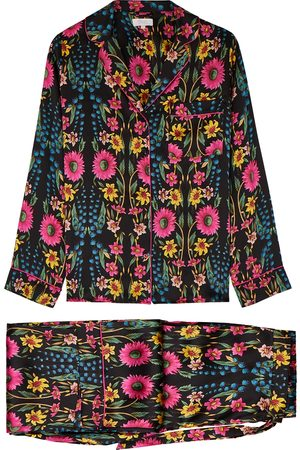 YOLKE Wildflower printed silk pyjama set