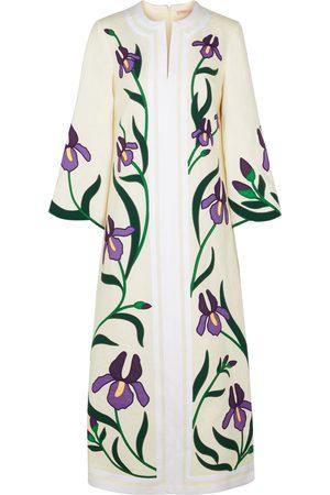 Tory Burch Women Beach Dresses - Iris floral-appliquéd linen kaftan