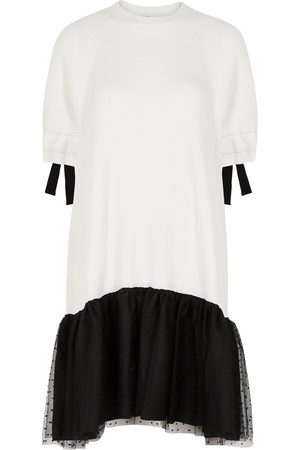 RED Valentino Women Knitted Dresses - Monochrome ribbed and point d'esprit dress
