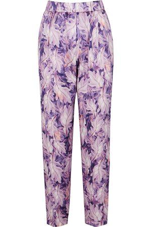 forte forte Leaf-print slim-leg silk trousers