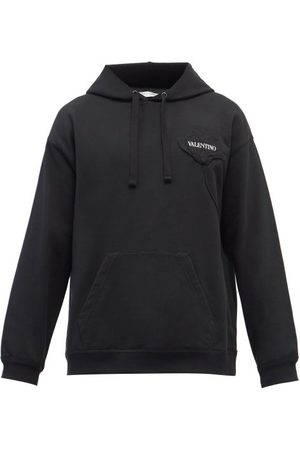 VALENTINO Floral-embossed Cotton-jersey Hooded Sweatshirt - Mens