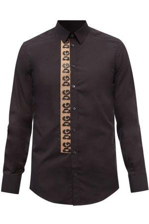 Dolce & Gabbana Logo-panel Cotton-poplin Shirt - Mens
