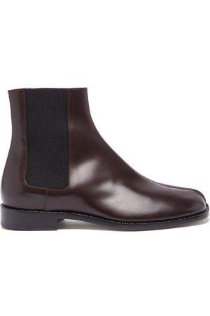 Maison Margiela Tabi Split-toe Leather Chelsea Boots - Mens - Dark
