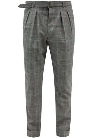 OFFICINE GENERALE Pierre Belted Check Wool-fresco Suit Trousers - Mens - Print
