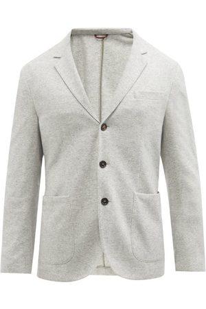 Brunello Cucinelli Men Blazers - Single-breasted Cashmere Blazer - Mens - Light Grey