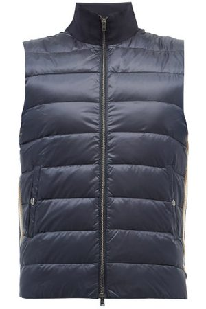 HERNO High-neck Cotton-jersey And Quilted Down Gilet - Mens - Navy