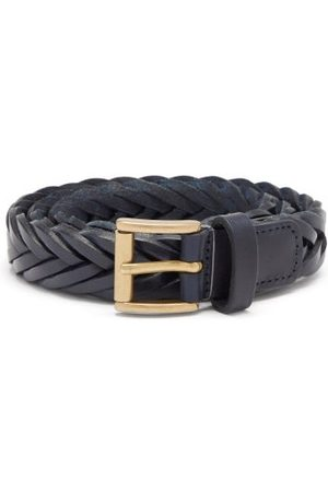 Anderson's Braided-leather Belt - Mens - Navy