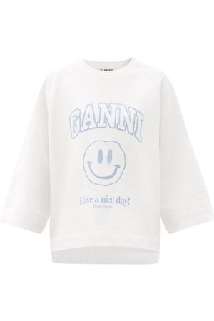 Ganni Isoli Smiley Face Recycled Cotton-blend Sweatshirt - Womens - / Ivory