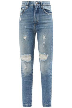 Dolce & Gabbana Logo-plaque Distressed-denim Slim-leg Jeans - Womens - Denim
