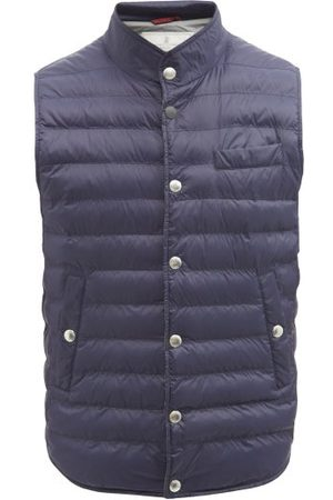 Brunello Cucinelli Quilted Nylon-shell Down Gilet - Mens - Navy