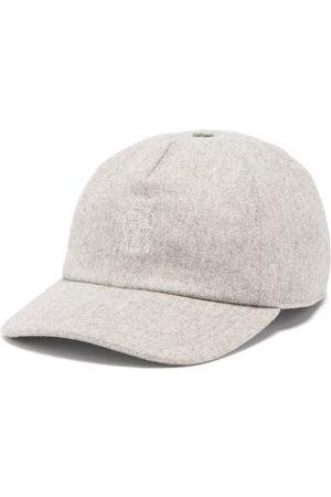 Brunello Cucinelli Crest-embroidered Wool Baseball Cap - Mens - Grey