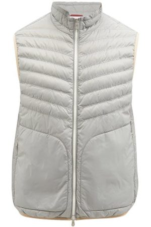 Brunello Cucinelli Quilted Nylon-shell Down Gilet - Mens - Light Grey