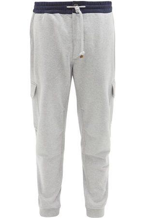 Brunello Cucinelli Cargo-pocket Cotton-jersey Track Pants - Mens - Grey Multi