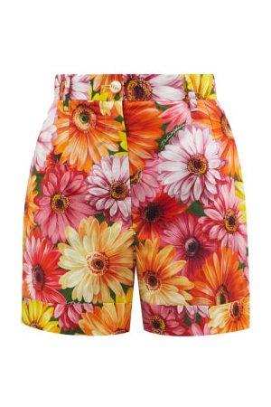 Dolce & Gabbana Women Shorts - Gerbera-print Cotton-poplin Shorts - Womens