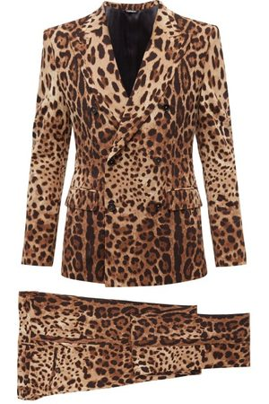 Dolce & Gabbana Men Suits - Double-breasted Leopard Wool-blend Suit - Mens - Multi