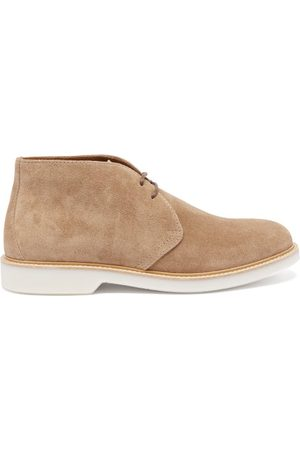 Brunello Cucinelli Men Lace-up Boots - Waxed-suede Desert Boots - Mens - Tan