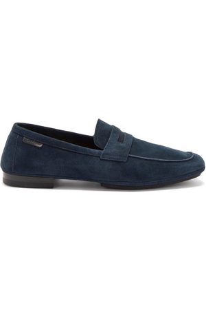 Tom Ford Men Loafers - Berwick Suede Penny Loafers - Mens - Navy