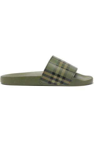 Burberry Furley Vintage-check Rubber Slides - Mens - Khaki