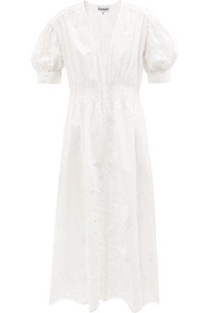 Ganni Puff-sleeve Broderie-anglaise Organic-cotton Dress - Womens