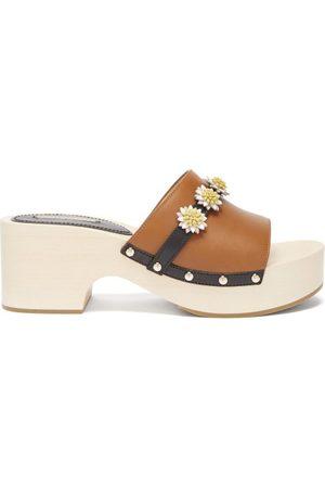 Fabrizio Viti Dolly Floral-appliqué Leather Mule Clogs - Womens - Tan