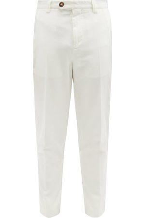 Brunello Cucinelli Cotton-twill Cropped Slim-leg Trousers - Mens