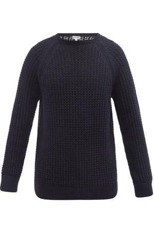 Loewe Men Sweatshirts - Waffle-knit Wool-blend Sweater - Mens - Navy