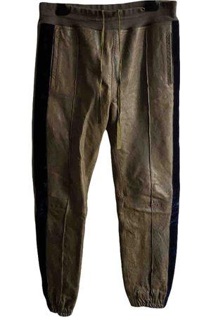 Haider Ackermann Khaki Leather Trousers