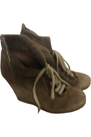 Sandro Camel Suede Ankle Boots