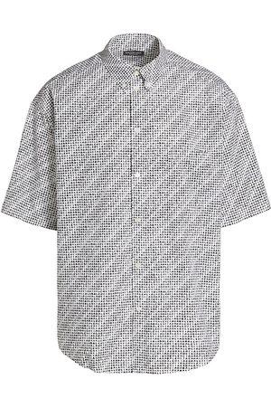 Balenciaga Men Short sleeves - Men's Oversized Short-Sleeve Printed Shirt - - Size 15.5