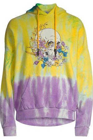 Eleven Paris Men's Floral Skull Graphic Tie-Dye Hoodie Sweatshirt - Lemon Chrome Dipdye - Size XXL