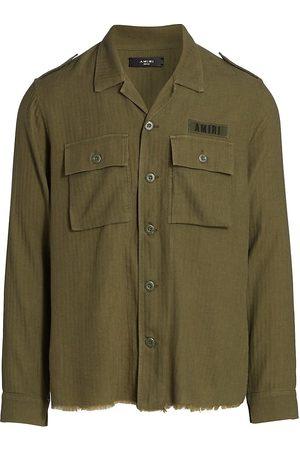 AMIRI Men Shirts - Men's Cashmere Military Shirt - Military - Size XL