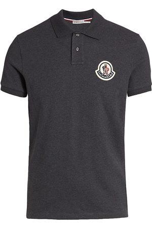 Moncler Men's Logo Patch Polo - Charcoal - Size XL
