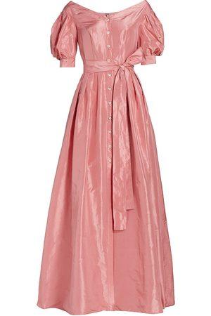 Carolina Herrera Women Strapless Dresses - Women's Off-The-Shoulder Puff-Sleeve Button-Down Gown - Melon - Size 14