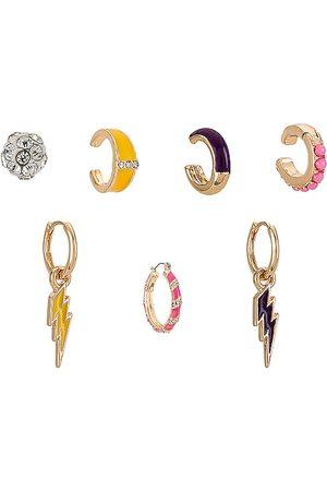 8 Other Reasons Women Earrings - Girl Power Set in Metallic Gold.
