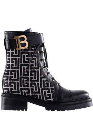 Balmain Bicolor Jacquard Ranger Romy Ankle Boots