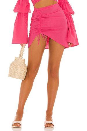 Bananhot Women Mini Skirts - X REVOLVE Mini Ruched Skirt in Fuchsia.