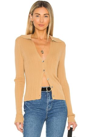 Vince Ribbed Polo Cardigan in Tan.